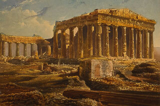 The Parthenon in 1839, destruction and survival of the Parthenon of Athens